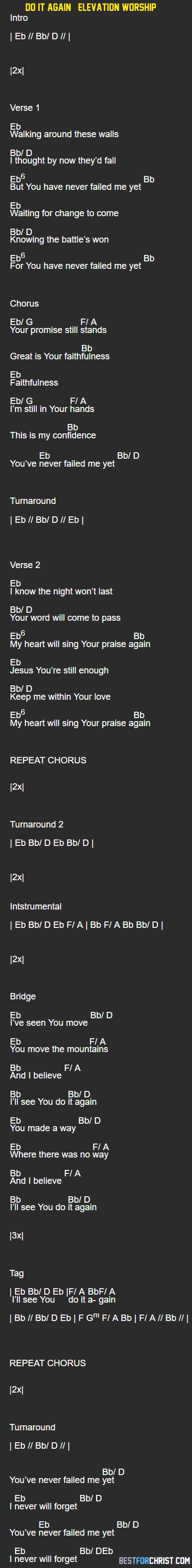 Do It Again Elevation Worship Song Lyrics and Music Chords