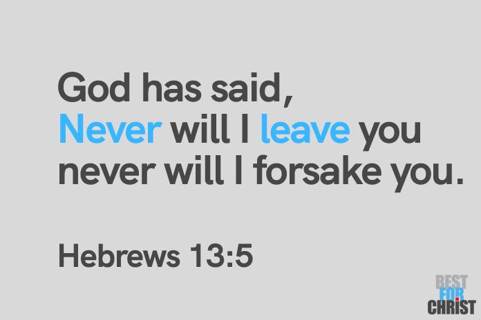 I never leave you Day June 17 Bible verse Hebrews 13:5